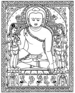 Coloriage complexe pour adulte tibet gratuit a imprimer