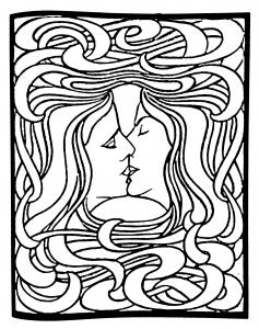 Coloriage difficile adulte art nouveau dapres le baiser de peter behrens 1898 gratuit a imprimer