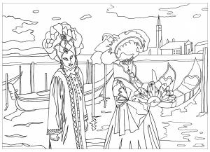 Coloriage difficile adulte carnaval de venise par marion gratuit a imprimer