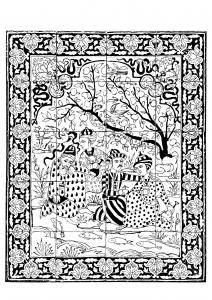 Coloriage iran 1700 1800 panneau revetement mural hommes au bord d un ruisseau gratuit a imprimer