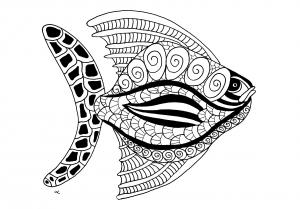 Coloriage poisson zentangle etape 2 gratuit a imprimer