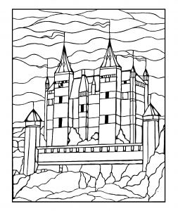 Coloriage pour adulte dessin chateau gratuit a imprimer
