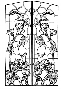 Coloriage pour adulte dessin vitrail style art nouveau gratuit a imprimer