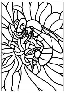 Coloriage pour adulte difficile adulte abeille style vitrail gratuit a imprimer