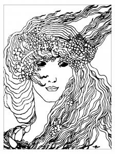 Coloriage pour adulte difficile adulte art nouveau dapres climax de aubrey vincent beardsley gratuit a imprimer