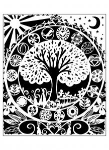 Coloriage pour adulte difficile arbre noir blanc gratuit a imprimer