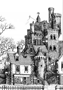 Coloriage pour adulte difficile architecture chateau gratuit a imprimer