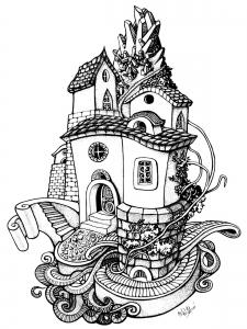 Coloriage pour adulte difficile architecture maison arrondie gratuit a imprimer