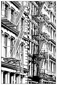 Coloriage Adulte New York.Pour Architecture Soho New York Gratuit A Imprimer