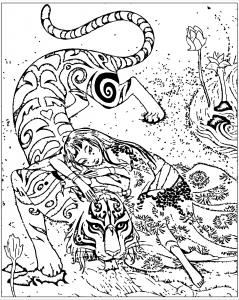 Coloriage pour adulte difficile chine inspire livre tigre le devoue de qifeng shen gratuit a imprimer