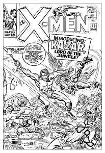 Coloriage pour adulte difficile comics xmen 1965 couverture inedite gratuit a imprimer