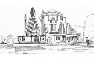 Coloriage pour adulte difficile dessin monument art deco pavillon du tourisme a l exposition de la houille blanche grenoble 1925 gratuit a imprimer