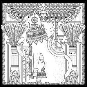 Coloriage pour adulte difficile egypte chat style egyptien et symboles par kchung gratuit a imprimer