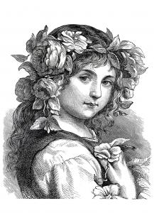 Coloriage pour adulte difficile flower girl 1868 gratuit a imprimer