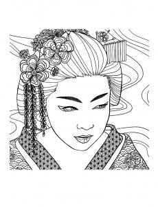 Coloriage pour adulte difficile geisha visage par mizu gratuit a imprimer