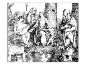 Coloriage pour adulte difficile gravure jacopo de barbari sainte conversation vers 1509 gratuit a imprimer