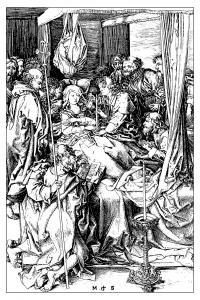 Coloriage pour adulte difficile gravure martin schongauer la mort de la vierge vers 1470 gratuit a imprimer