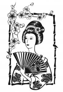 Coloriage pour adulte difficile japonaise avec evantail par krystsina birukova gratuit a imprimer