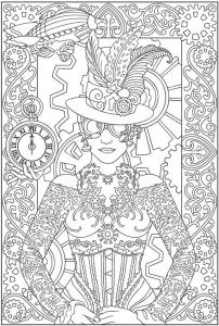Coloriage pour adulte difficile mode vetements femme horloge gratuit a imprimer