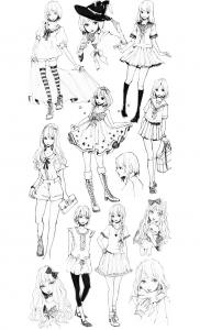 Coloriage pour adulte difficile mode vetements style mangas gratuit a imprimer