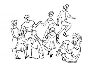 Coloriage pour adulte difficile moyen age danse gratuit a imprimer