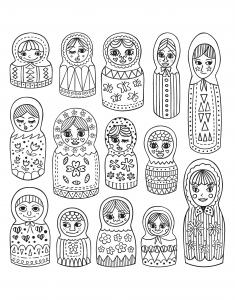 Coloriage pour adulte difficile nombreuses jolies pourpees russes gratuit a imprimer