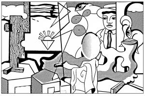 Coloriage pour adulte difficile roy lichtenstein icones americaines gratuit a imprimer