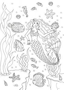 Coloriage pour adulte difficile sirene et poissons gratuit a imprimer