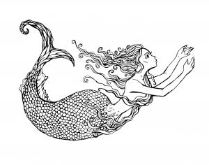 Coloriage pour adulte difficile sirene nageant par lian2011 gratuit a imprimer