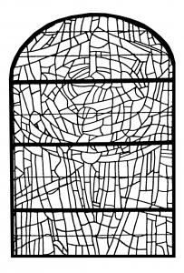 Coloriage pour adulte difficile vitrail choeur eglise paroissale saint servant sur oust france version 3 gratuit a imprimer