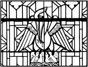 Coloriage pour adulte difficile vitrail pelican eglise arthon en retz 20es gratuit a imprimer