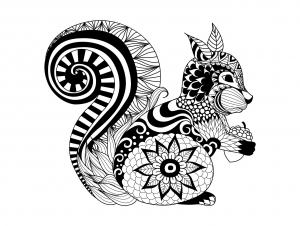 Coloriage pour adulte difficile zentangle ecureuil par bimdeedee gratuit a imprimer