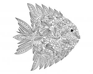 Coloriage pour adulte difficile zentangle poisson par artnataliia gratuit a imprimer