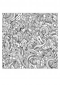 Coloriage pour adulte doodle ville incroyable par olga kostenko gratuit a imprimer