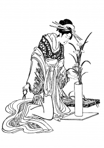 Coloriage pour adulte japon tenue traditionnelle herboriste gratuit a imprimer