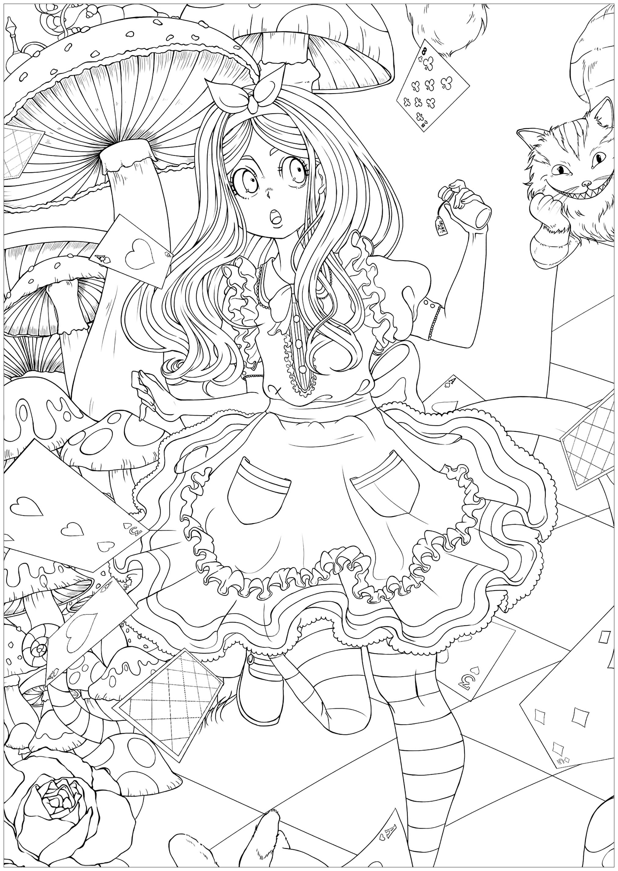 Alice Au Pays Des Merveilles Version 2 Coloriage Disney Coloriages Pour Enfants