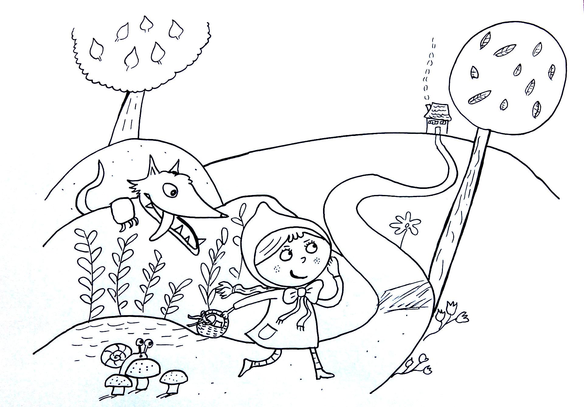 Petit chaperon rouge loup coloriage disney coloriages pour enfants - Coloriage le petit chaperon rouge ...