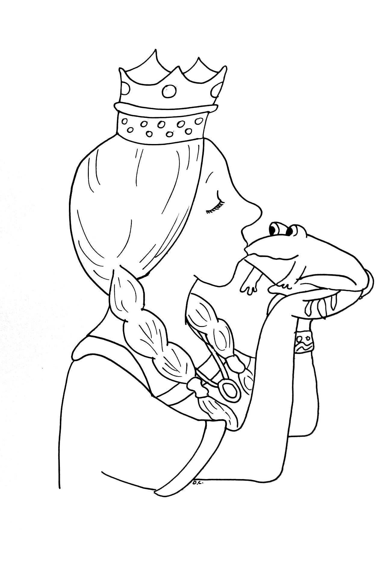Princesse grenouille coloriage contes classiques - Dessin de bisous ...