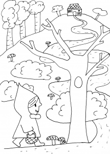 coloriage-petit-chaperon-rouge-chemin free to print