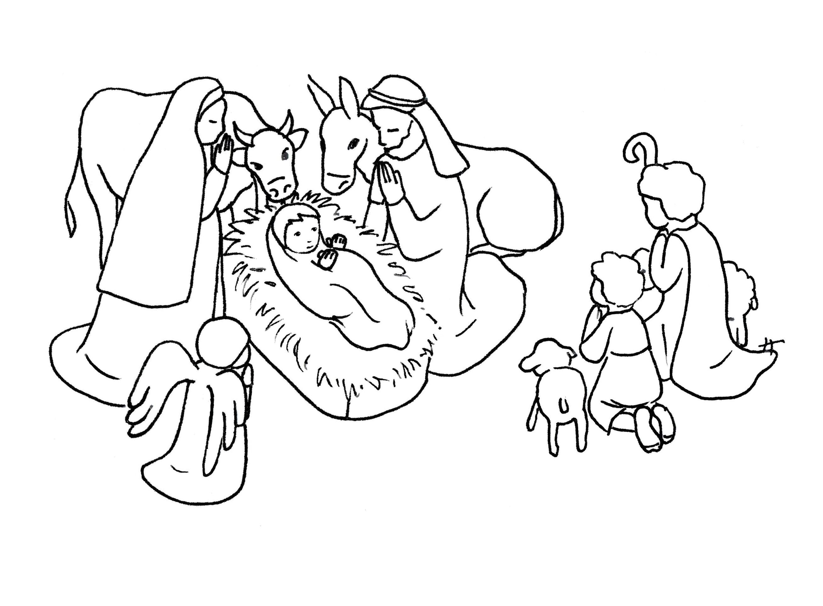 Creche nativite 2 coloriage de cr che no l nativit - Coloriage creche de noel ...
