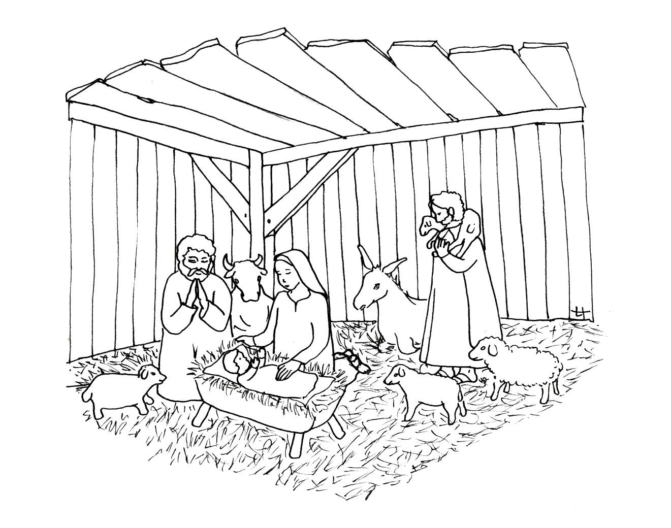 Creche nativite 9 coloriage de cr che no l nativit - Coloriage creche de noel ...