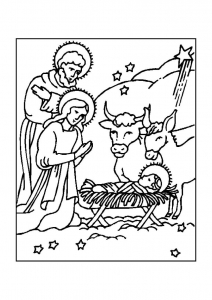coloriage-creche-nativite-1 free to print