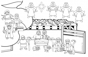 coloriage-creche-nativite free to print