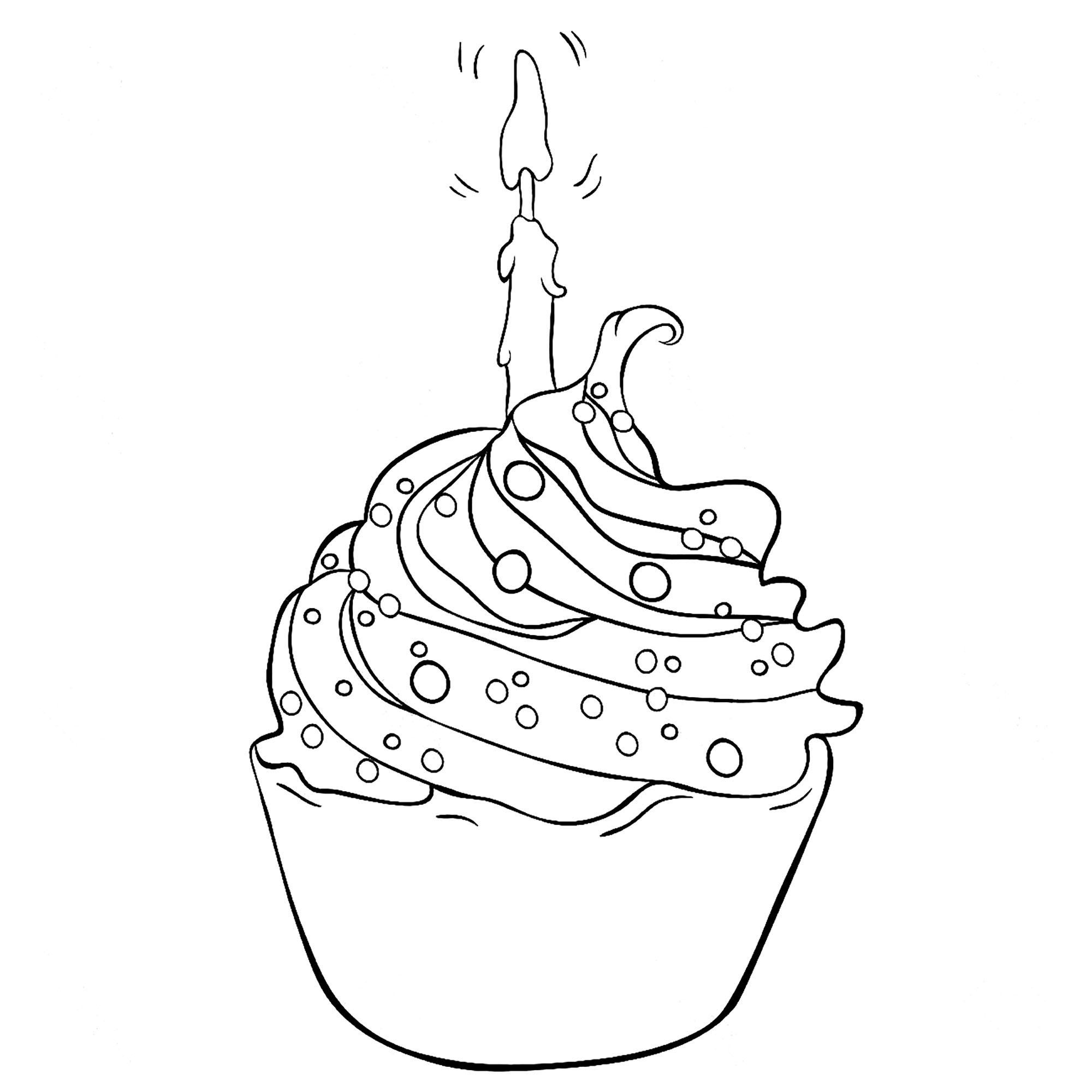 Joyeux anniversaire avec ce cupcake - Coloriage Cupcakes ...