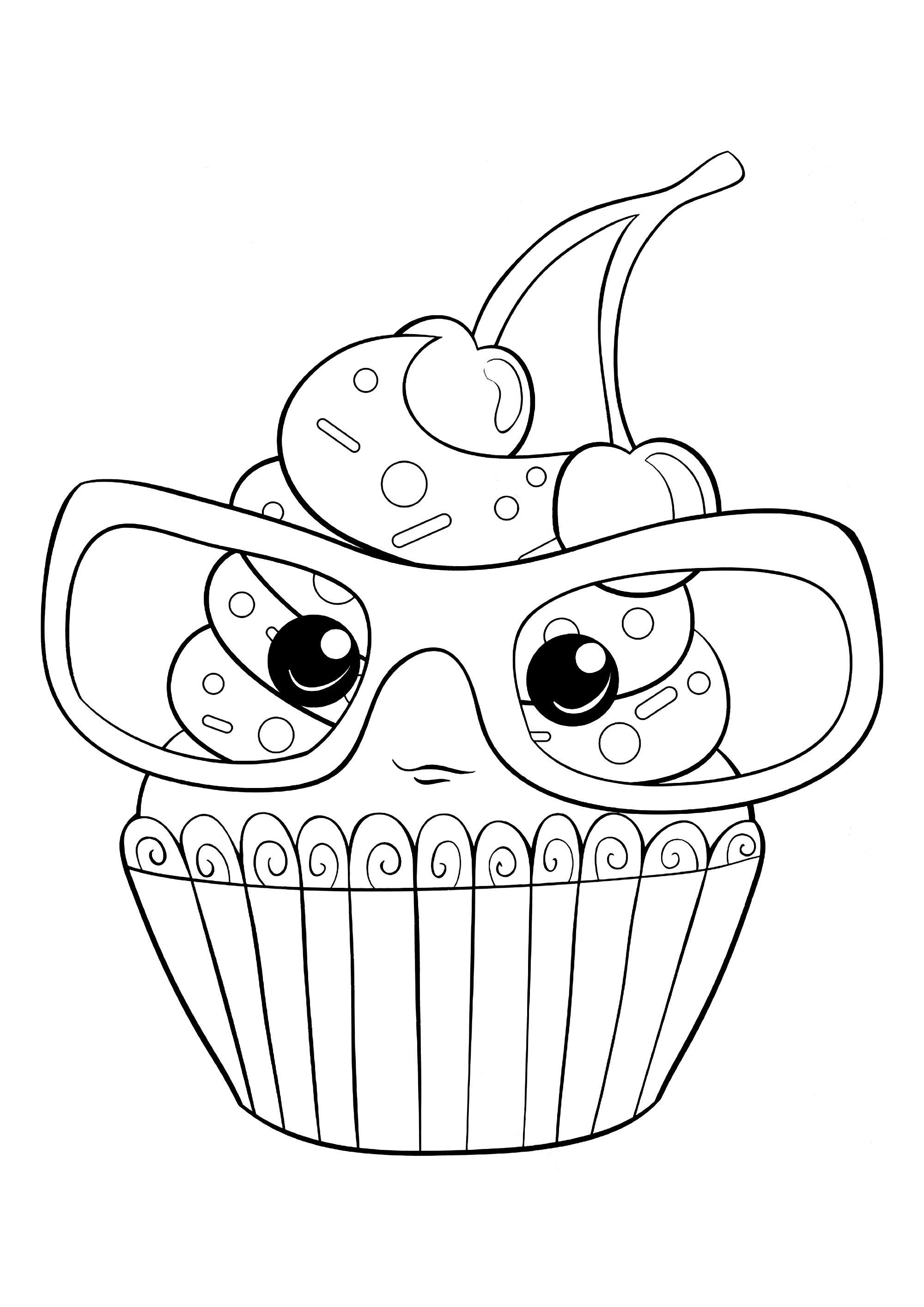 Cupcake à lunettes - Coloriage Cupcakes et gateaux ...