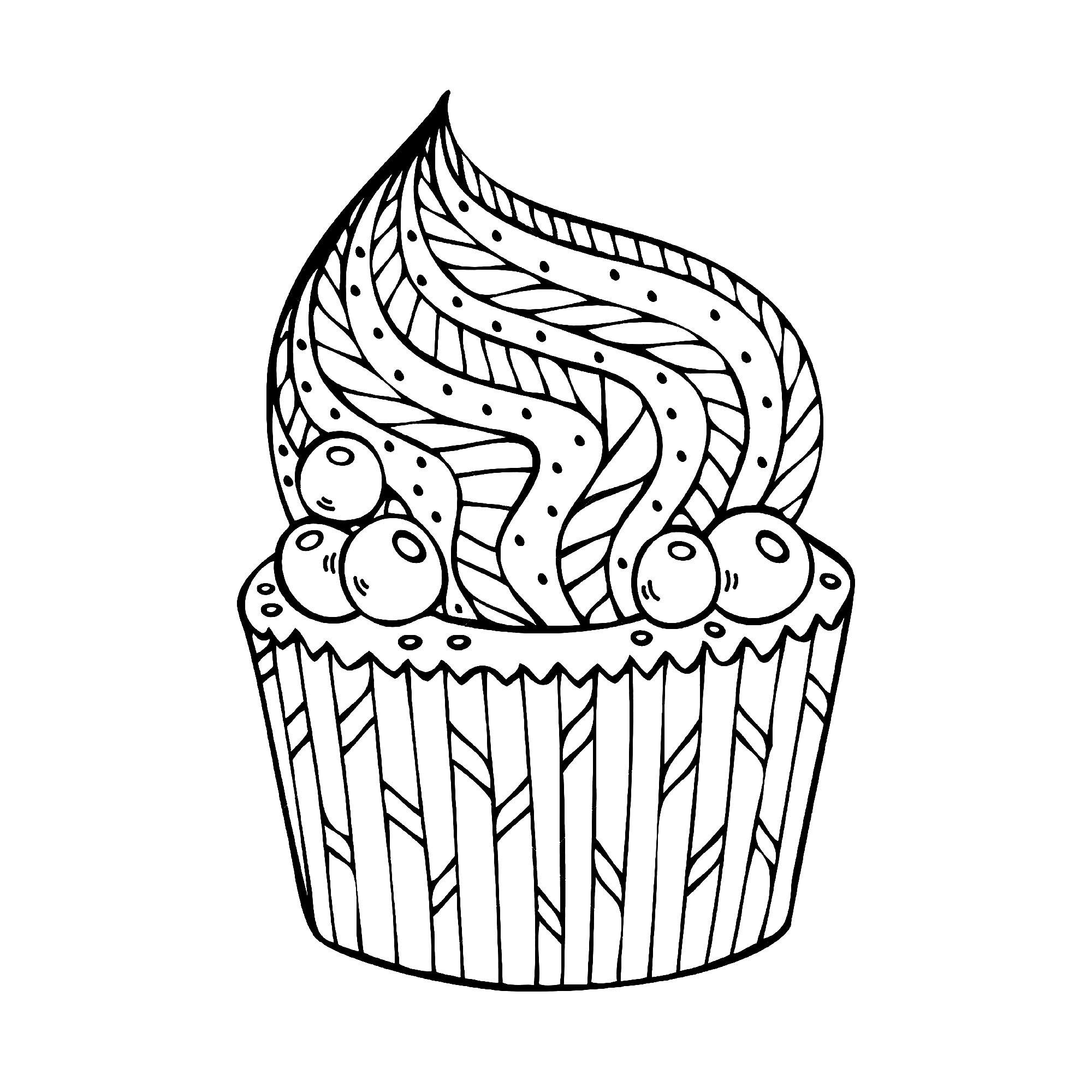 Simple cupcake à colorier - Coloriage Cupcakes et gateaux ...