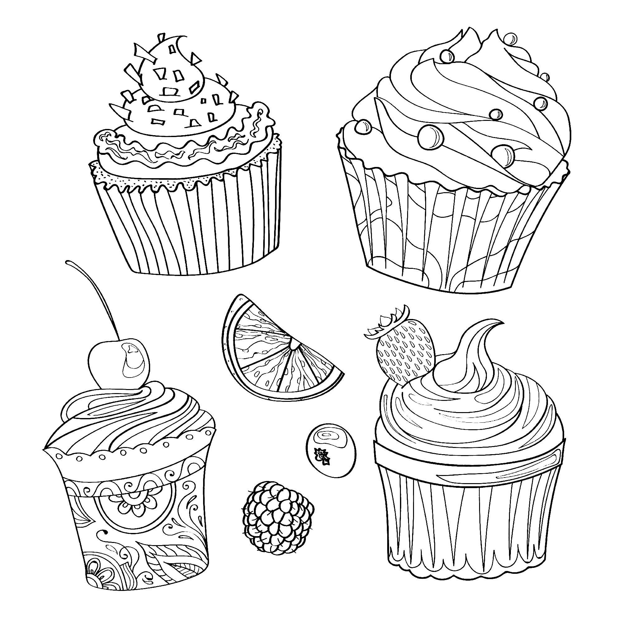 De délicieux cupcakes et morceaux de fruits - Coloriage ...