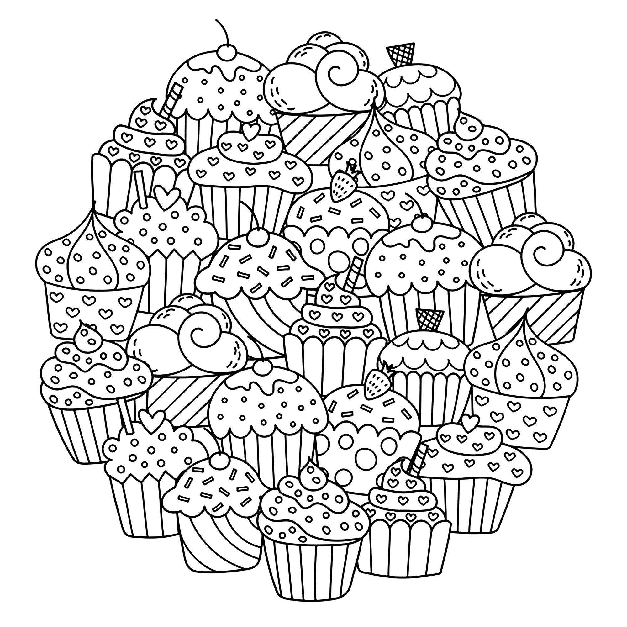 Dessin cupcake circulaire - Coloriage Cupcakes et gateaux ...