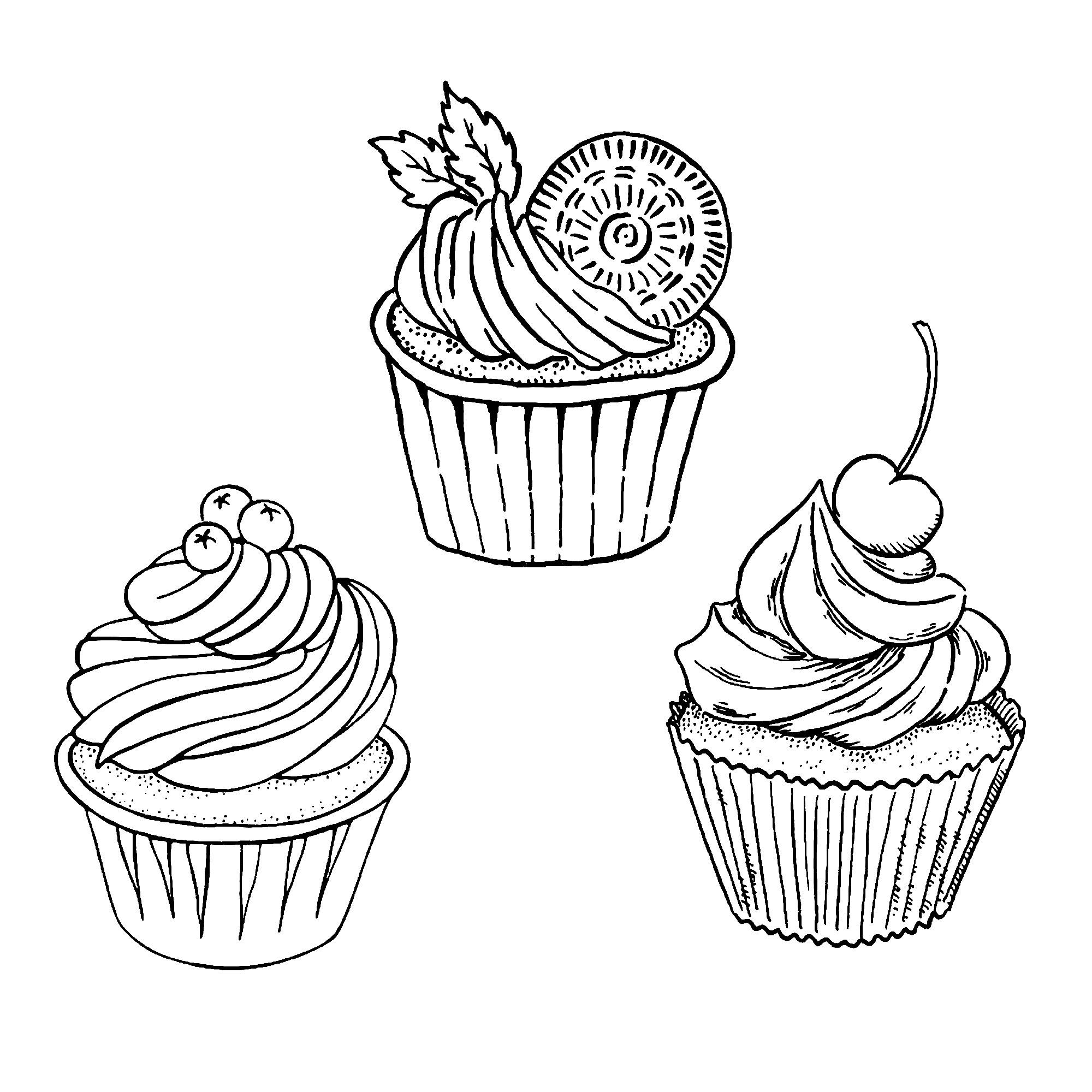 Trois bons simples cupcakes - Coloriage Cupcakes et ...