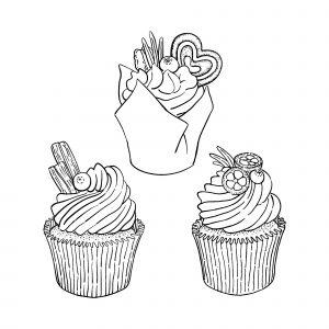 Trois cupcakes simples